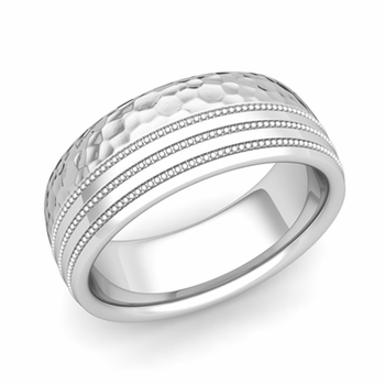 Milgrain Dome Wedding Ring in Platinum Comfort Fit Band, Hammered Finish, 8mm