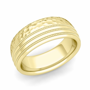 Milgrain Dome Wedding Ring in 18k Gold Comfort Fit Band, Hammered Finish, 8mm