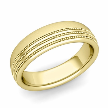 Milgrain Dome Wedding Ring in 18k Gold Comfort Fit Band, Satin Finish, 6mm
