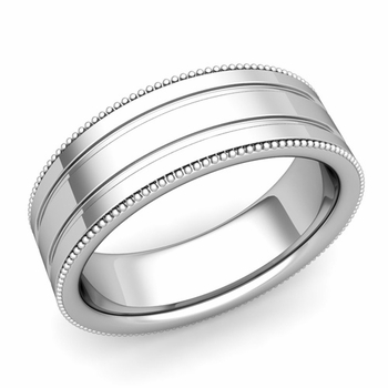 Milgrain and Groove Wedding Ring in Platinum Comfort Fit Band, Polished Finish, 7mm