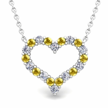 Pave Diamond and Yellow Sapphire Heart Necklace in 14k Gold Pendant
