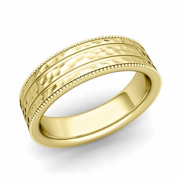 Milgrain and Groove Wedding Ring in 18k Gold Comfort Fit Band, Hammered Finish, 6mm