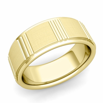 Geometric Wedding Band in 18k Gold Mixed Brushed Finish Ring, 8mm