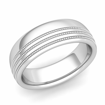 Milgrain Dome Wedding Ring in Platinum Comfort Fit Band, Polished Finish, 7mm