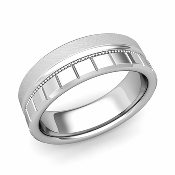 Milgrain and Brick Wedding Ring in Platinum Comfort Fit Band, Mixed Brushed Finish, 7mm
