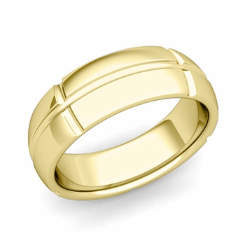 Brick Comfort Fit Wedding Band Ring in 18k Gold, Polished Finish, 7mm