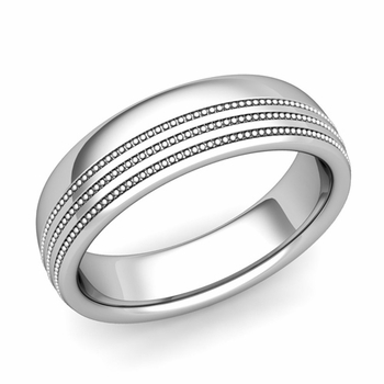 Milgrain Dome Wedding Ring in Platinum Comfort Fit Band, Polished Finish, 6mm