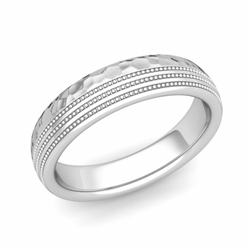 Milgrain Dome Wedding Ring in 14k Gold Comfort Fit Band, Hammered Finish, 5mm