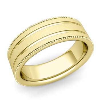 Milgrain and Groove Wedding Ring in 18k Gold Comfort Fit Band, Mixed Brushed Finish, 7mm