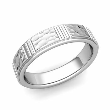 Geometric Wedding Band in Platinum Hammered Finish Ring, 5mm