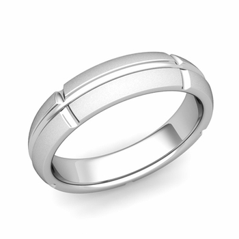 Brick Comfort Fit Wedding Band Ring in Platinum, Satin Finish, 5mm