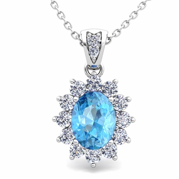 Diamond and Blue Topaz Necklace in 14k Gold Halo Pendant 8x6mm