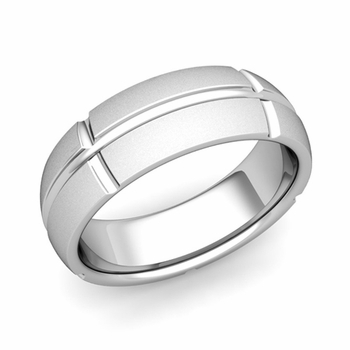 Brick Comfort Fit Wedding Band Ring in Platinum, Satin Finish, 7mm