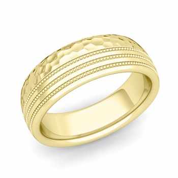 Milgrain Dome Wedding Ring in 18k Gold Comfort Fit Band, Hammered Finish, 7mm