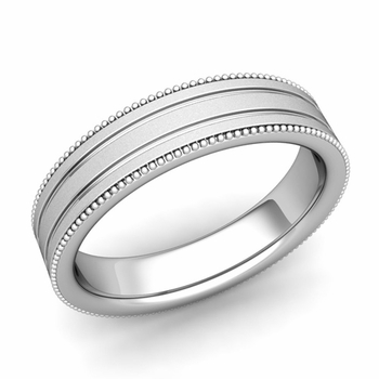 Milgrain and Groove Wedding Ring in Platinum Comfort Fit Band, Satin Finish, 5mm
