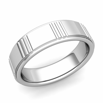 Geometric Wedding Band in 14k Gold Polished Finish Ring, 7mm
