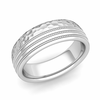 Milgrain Dome Wedding Ring in Platinum Comfort Fit Band, Hammered Finish, 7mm