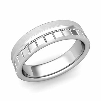 Milgrain and Brick Wedding Ring in 14k Gold Comfort Fit Band, Mixed Brushed Finish, 6mm