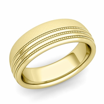 Milgrain Dome Wedding Ring in 18k Gold Comfort Fit Band, Mixed Brushed Finish, 7mm