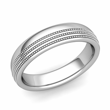 Milgrain Dome Wedding Ring in Platinum Comfort Fit Band, Polished Finish, 5mm