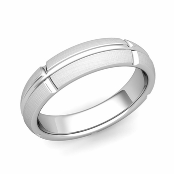 Brick Comfort Fit Wedding Band Ring in Platinum, Mixed Brushed Finish, 5mm