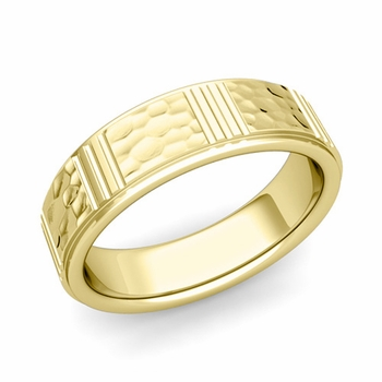 Geometric Wedding Band in 18k Gold Hammered Finish Ring, 6mm