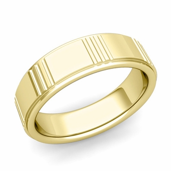 Geometric Wedding Band in 18k Gold Polished Finish Ring, 7mm