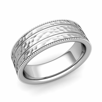 Milgrain and Groove Wedding Ring in Platinum Comfort Fit Band, Hammered Finish, 7mm