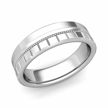 Milgrain and Brick Wedding Ring in Platinum Comfort Fit Band, Polished Finish, 6mm