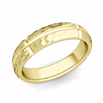 Brick Comfort Fit Wedding Band Ring in 18k Gold, Hammered Finish, 5mm
