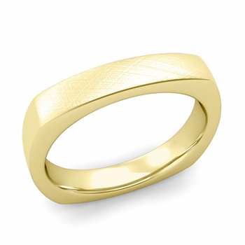 Square Comfort Fit Wedding Ring in 18K Gold Mixed Brushed Band, 4mm