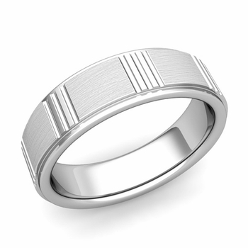 Geometric Wedding Band in 14k Gold Mixed Brushed Finish Ring, 6mm