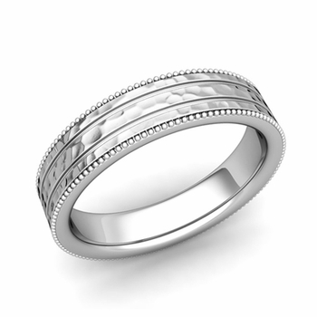 Milgrain and Groove Wedding Ring in Platinum Comfort Fit Band, Hammered Finish, 5mm
