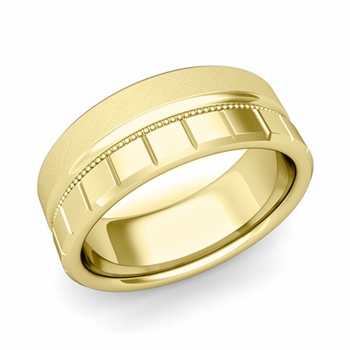 Milgrain and Brick Wedding Ring in 18k Gold Comfort Fit Band, Mixed Brushed Finish, 8mm