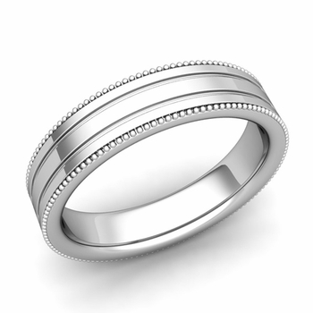Milgrain and Groove Wedding Ring in Platinum Comfort Fit Band, Polished Finish, 5mm