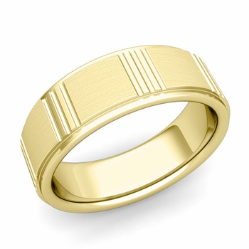 Geometric Wedding Band in 18k Gold Mixed Brushed Finish Ring, 7mm