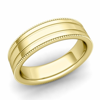 Milgrain and Groove Wedding Ring in 18k Gold Comfort Fit Band, Polished Finish, 6mm