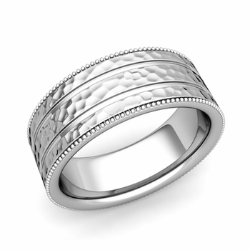 Milgrain and Groove Wedding Ring in Platinum Comfort Fit Band, Hammered Finish, 8mm