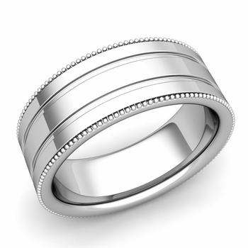 Milgrain and Groove Wedding Ring in 14k Gold Comfort Fit Band, Polished Finish, 8mm