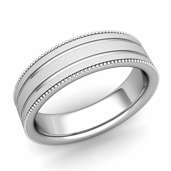 Milgrain and Groove Wedding Ring in Platinum Comfort Fit Band, Mixed Brushed Finish, 6mm