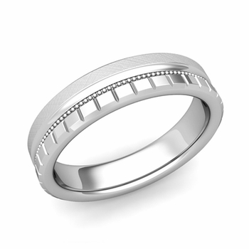 Milgrain and Brick Wedding Ring in 18k Gold Comfort Fit Band, Mixed Brushed Finish, 5mm