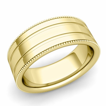 Milgrain and Groove Wedding Ring in 18k Gold Comfort Fit Band, Polished Finish, 8mm