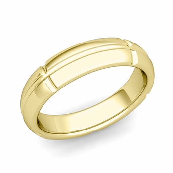 Brick Comfort Fit Wedding Band Ring in 18k Gold, Polished Finish, 5mm