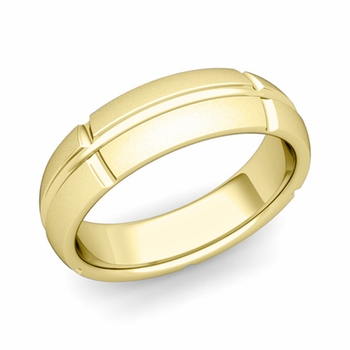 Brick Comfort Fit Wedding Band Ring in 18k Gold, Satin Finish, 6mm