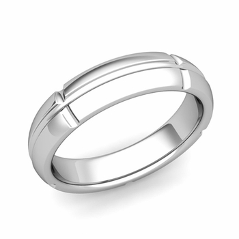Brick Comfort Fit Wedding Band Ring in Platinum, Polished Finish, 5mm
