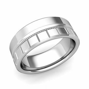 Milgrain and Brick Wedding Ring in Platinum Comfort Fit Band, Polished Finish, 8mm