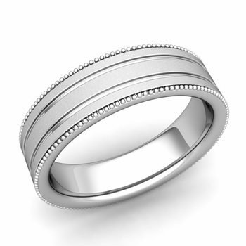 Milgrain and Groove Wedding Ring in Platinum Comfort Fit Band, Satin Finish, 6mm