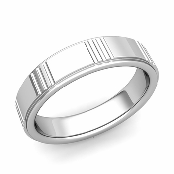 Geometric Wedding Band in 14k Gold Polished Finish Ring, 6mm