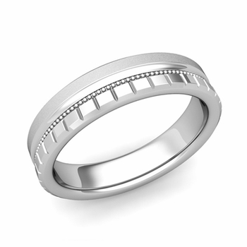 Milgrain and Brick Wedding Ring in 14k Gold Comfort Fit Band, Satin Finish, 5mm