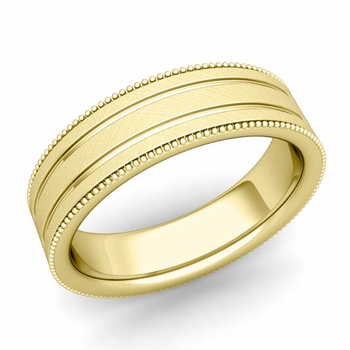Milgrain and Groove Wedding Ring in 18k Gold Comfort Fit Band, Mixed Brushed Finish, 6mm